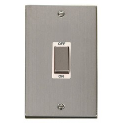 Click Deco Victorian Stainless Steel Ingot 2 Gang 45A Double Pole Switch with White Insert