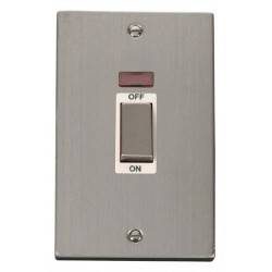 Click Deco Victorian Stainless Steel Ingot 2 Gang 45A Double Pole Switch With Neon with White Insert
