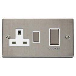 Click Deco Victorian Stainless Steel Ingot 45A Double Pole Switch and 13A Switched Socket with White Insert