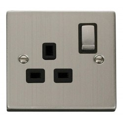 Click Deco Victorian Stainless Steel 1 Gang 13A Double Pole Ingot Switched Socket Outlet with Black Insert