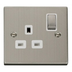 Click Deco Victorian Stainless Steel 1 Gang 13A Double Pole Ingot Switched Socket Outlet with White Insert