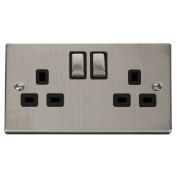 Click Deco Victorian Stainless Steel 2 Gang 13A Double Pole Ingot Switched Socket Outlet with Black Insert