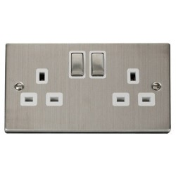 Click Deco Victorian Stainless Steel 2 Gang 13A Double Pole Ingot Switched Socket Outlet with White Insert