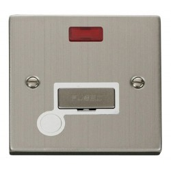 Click Deco Victorian Stainless Steel 13A Fused Ingot Connection Unit With Flex Outlet with Neon with White Insert