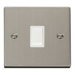 Click Deco Victorian Stainless Steel 20A 1 Gang Double Pole Switch with White Insert