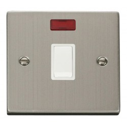 Click Deco Victorian Stainless Steel 20A 1 Gang Double Pole Switch with Neon with White Insert