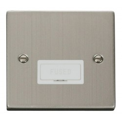 Click Deco Victorian Stainless Steel 13A Fused Connection Unit with White Insert