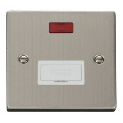 Click Deco Victorian Stainless Steel 13A Fused Connection Unit With Neon with White Insert