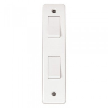 Click Mode White 2 Gang 2 Way 10A Architrave Switch