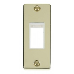 Click Deco Victorian Polished Brass Single Architrave Plate Only with White Insert