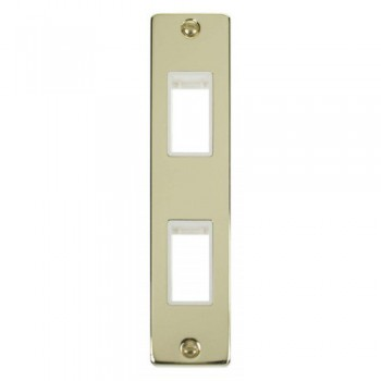 Click Deco Victorian Polished Brass Double Architrave Plate Only with White Insert
