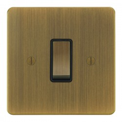 Focus SB Ambassador AAB11.1B 1 gang 20 amp 2 way rocker switch in Antique Brass with black inserts
