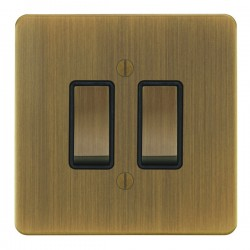 Focus SB Ambassador AAB11.2B 2 gang 20 amp 2 way rocker switch in Antique Brass with black inserts
