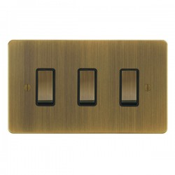 Focus SB Ambassador AAB11.3B 3 gang 20 amp 2 way rocker switch in Antique Brass with black inserts