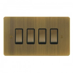 Focus SB Ambassador AAB11.4B 4 gang 20 amp 2 way rocker switch in Antique Brass with black inserts