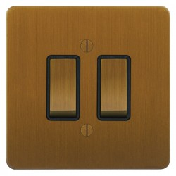Focus SB Ambassador ABA11.2B 2 gang 20 amp 2 way rocker switch in Bronze Antique with black inserts
