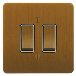 Focus SB Ambassador ABA11.2W 2 gang 20 amp 2 way rocker switch in Bronze Antique with white inserts