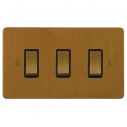 Focus SB Ambassador ABA11.3B 3 gang 20 amp 2 way rocker switch in Bronze Antique with black inserts