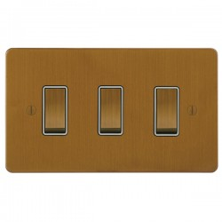 Focus SB Ambassador ABA11.3W 3 gang 20 amp 2 way rocker switch in Bronze Antique with white inserts