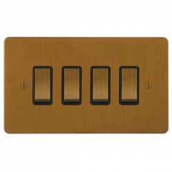 Focus SB Ambassador ABA11.4B 4 gang 20 amp 2 way rocker switch in Bronze Antique with black inserts