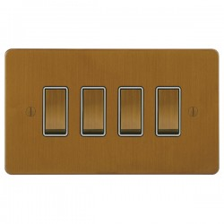 Focus SB Ambassador ABA11.4W 4 gang 20 amp 2 way rocker switch in Bronze Antique with white inserts
