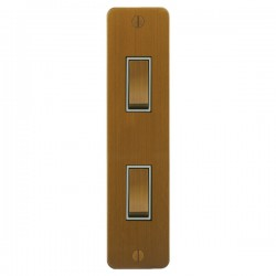 Focus SB Ambassador ABA16.2W 2 gang 20 amp 2 way architrave switch in Bronze Antique with white inserts