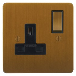 Focus SB Ambassador ABA18.1B 1 gang 13 amp switched socket in Bronze Antique with black inserts