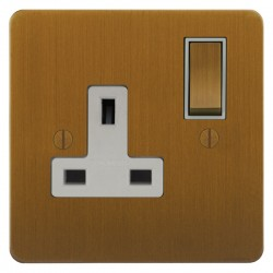 Focus SB Ambassador ABA18.1W 1 gang 13 amp switched socket in Bronze Antique with white inserts
