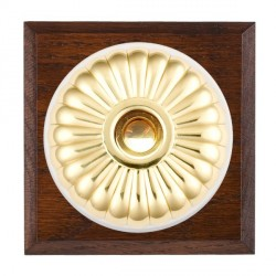 Hamilton Bloomsbury Chamfered Antique Mahogany Fluted Polished Brass Bell Push Toggle with White Insert