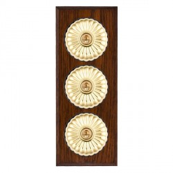 Hamilton Bloomsbury Chamfered Antique Mahogany Fluted Polished Brass 3 Gang 2 Way Toggle with Black Inser...