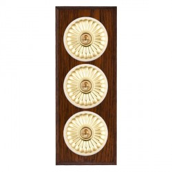 Hamilton Bloomsbury Chamfered Antique Mahogany Fluted Polished Brass 3 Gang 2 Way Toggle with White Insert