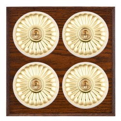 Hamilton Bloomsbury Chamfered Antique Mahogany Fluted Polished Brass 4 Gang 2 Way Toggle with White Insert