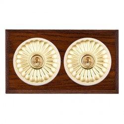 Hamilton Bloomsbury Chamfered Antique Mahogany Fluted Polished Brass 2 Gang Intermediate Toggle with White Insert