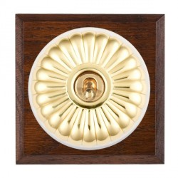 Hamilton Bloomsbury Chamfered Antique Mahogany Fluted Polished Brass 1 Gang Double Pole Toggle with White Insert