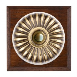 Hamilton Bloomsbury Chamfered Antique Mahogany Fluted Antique Brass Bell Push Toggle with White Insert