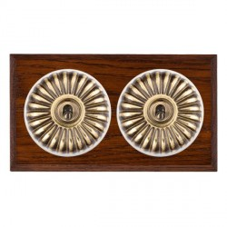 Hamilton Bloomsbury Chamfered Antique Mahogany Fluted Antique Brass 2 Gang 2 Way Toggle with White Insert
