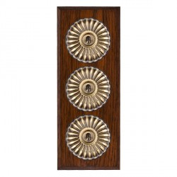 Hamilton Bloomsbury Chamfered Antique Mahogany Fluted Antique Brass 3 Gang 2 Way Toggle with Black Insert