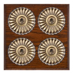 Hamilton Bloomsbury Chamfered Antique Mahogany Fluted Antique Brass 4 Gang 2 Way Toggle with Black Insert