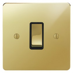 Focus SB Ambassador APB11.1B 1 gang 20 amp 2 way switch in Polished Brass with black inserts