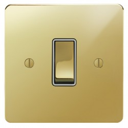 Focus SB Ambassador APB11.1W 1 gang 20 amp 2 way switch in Polished Brass with white inserts