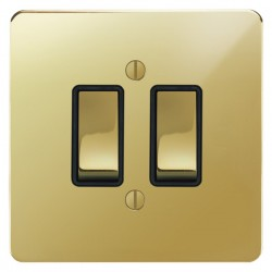 Focus SB Ambassador APB11.2B 2 gang 20 amp 2 way switch in Polished Brass with black inserts