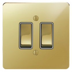 Focus SB Ambassador APB11.2W 2 gang 20 amp 2 way switch in Polished Brass with white inserts