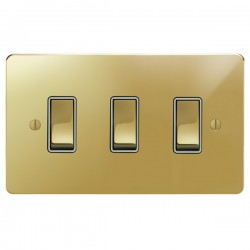 Focus SB Ambassador APB11.3W 3 gang 20 amp 2 way switch in Polished Brass with white inserts