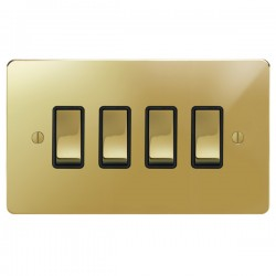 Focus SB Ambassador APB11.4B 4 gang 20 amp 2 way switch in Polished Brass with black inserts