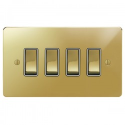 Focus SB Ambassador APB11.4W 4 gang 20 amp 2 way switch in Polished Brass with white inserts