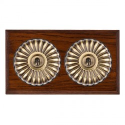 Hamilton Bloomsbury Chamfered Antique Mahogany Fluted Antique Brass 2 Gang Intermediate Toggle with Black...