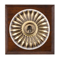 Hamilton Bloomsbury Chamfered Antique Mahogany Fluted Antique Brass 1 Gang Double Pole Toggle with White Insert