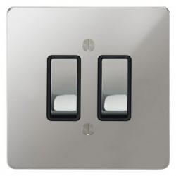 Focus SB Ambassador APC11.2B 2 gang 20 amp 2 way rocker switch in Polished Chrome with black inserts