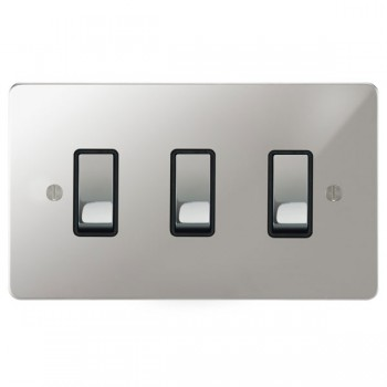 Focus SB Ambassador APC11.3B 3 gang 20 amp 2 way rocker switch in Polished Chrome with black inserts