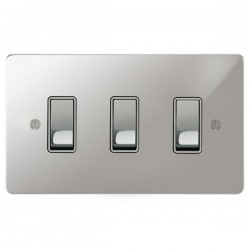Focus SB Ambassador APC11.3W 3 gang 20 amp 2 way rocker switch in Polished Chrome with white inserts